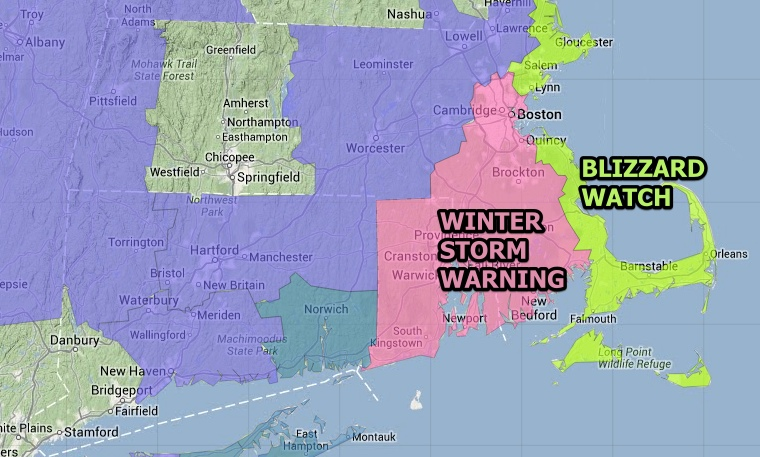 Winter Storm Warning and Blizzard Watch Saturday and Saturday night in Southeastern New England